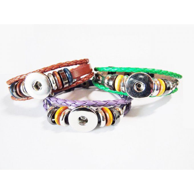 "Bracelet interchangeable cordon simili cuir réglable ""moderne"""