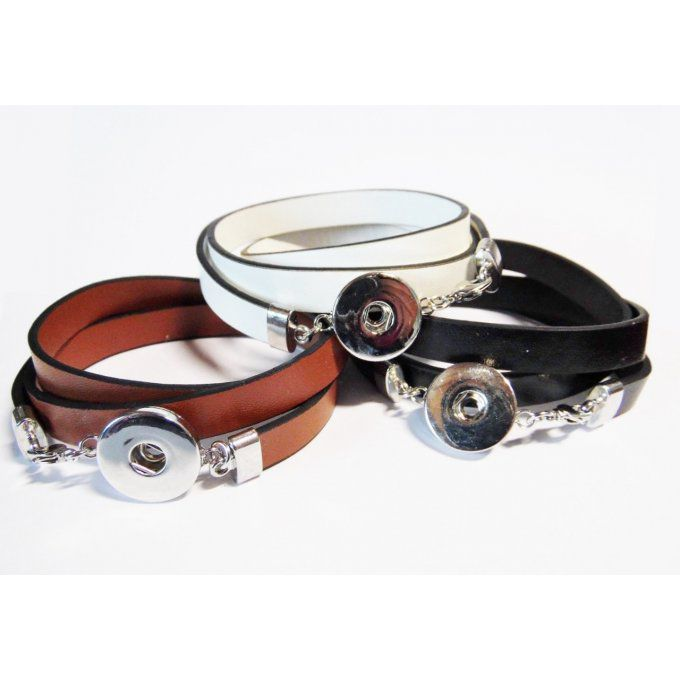 Bracelet interchangeable cordon simili cuir plat multiples tours